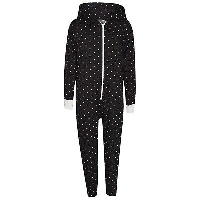 Kids Girls Polka Dot Cotton A2Z Onesie One Piece Black Hooded Jumpsuit 2-13 year