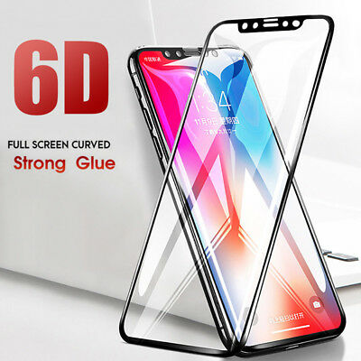 Screen Protector For iPhone X 8 7 Plus 6D Curved Full Cover Film Tempered Glass