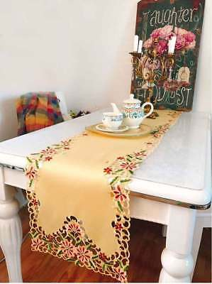 Nice Pink Daisy Flower Embroidery Cutwork Yellow Table Runner 224CM