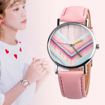 Double Color Leather Wrist Watch Lady Girl Women Teens Kids Student Watches