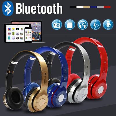 Bluetooth Wireless Headset Stereo Headphone Earphone Handfree Mic For SmartPhone
