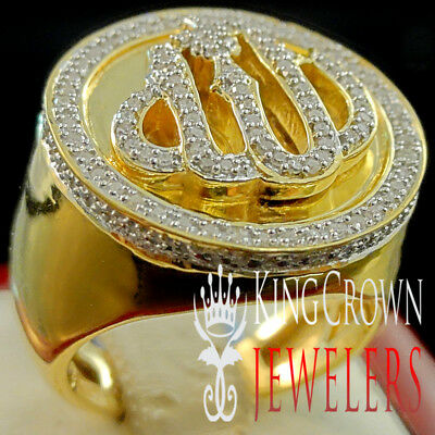 Mens Real Diamond Islamic Allah Muslim Pinky Band 10K Yellow Gold Finish Ring