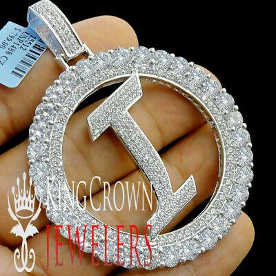 """Real White Gold On Silver Initial Letter Alphabet """"I"""" Pendant XL Diamonds Charm"""