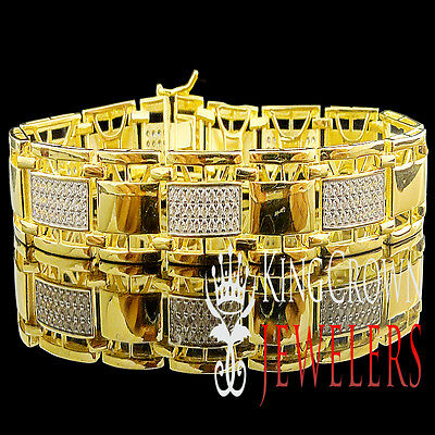 Genuine Sterling Silver Mens Ladies Gold Finish Pave Round Lab Diamond Bracelet