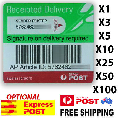 Australia Post Receipted Delivery Label Tracking and Signature On Registered Aus