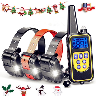 Waterproof Dog Shock Training Collar With Remote Rechargeable For Large 900 Yard