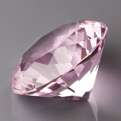 60mm Crystal Diamond Shaped Paperweight Pink Glass Gem Display Ornament Crafts