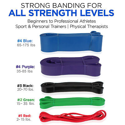 [Set of 5] Pull up Assist Band Exercise Resistance Bands for Gym / Home Workout