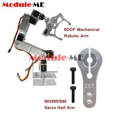 ROT3U 6DOF Mechanical Robotic Arm Clamp Claw Aluminium Robot Silver For Arduino