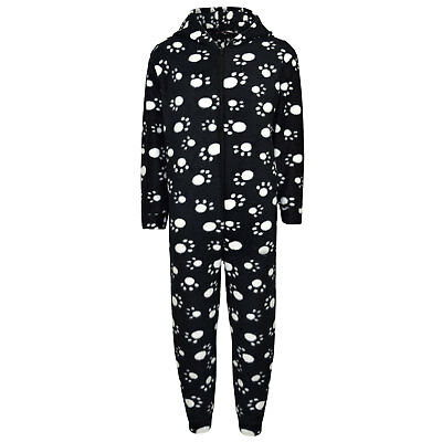 Unisex Kids Girls Paw Print Black Hooded Stylish A2Z Onesie One Piece 2-6 Years
