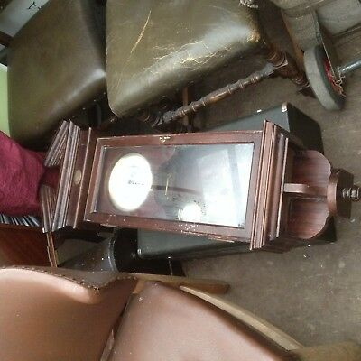 Large Antique Wall Clock Wooden Case Pendulum Spares or repair no key