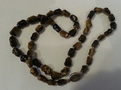 Vintage Chinese Carved Tiger Eye Bone Bead Beaded Necklace A, Silver Clasp