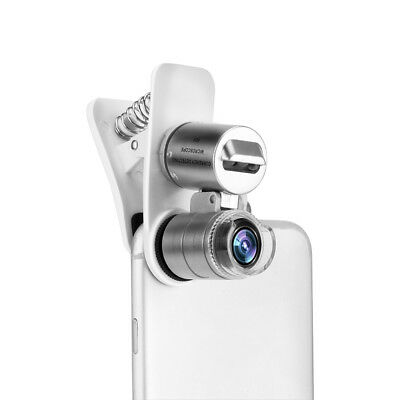 60X Phone Microscope Magnifier Optical Zoom Lens Clip on 3-LED Battery Operated