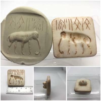 33mm Very Rare!! Indus Valley Old Stone Seal Stamp with Elephant & Old Writing