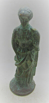 Scarce Circa 200-400Ad Roman Era Votive Bronze Statuette Of Diana