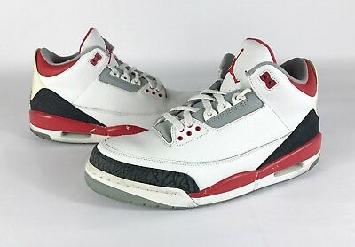reputable site 1499d 764b7 NIKE AIR JORDAN 3 Fire Red-Cement Grey 2007 Retro Iii Sz 12 136064 ...