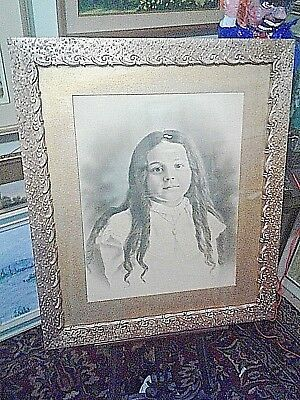 Antique 19th Century Painting Portrait Gold Picture Frame