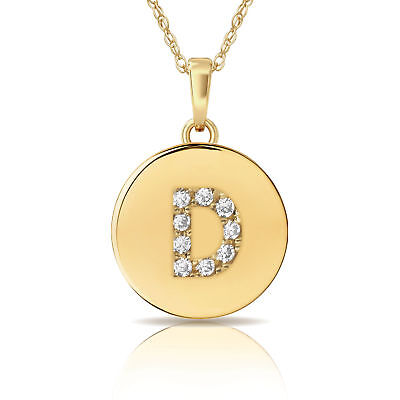 Necklaces & Pendants 0.25ct Brilliant Round Letter B Initial Pendant Necklace 14k Yellow Gold Fashion Jewelry