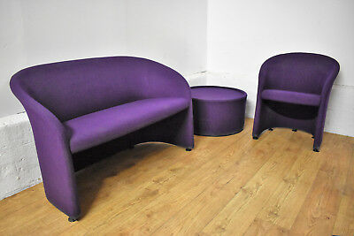 Purple Fabric 3 Piece Office Reception Suite Chairs