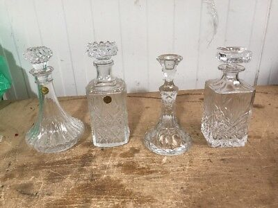 4 Crystal Glass Decanters
