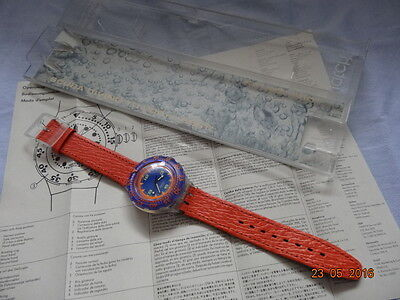 1992 SWATCH SCUBA RED ISLAND 200M 656ft SDK106 ORGNL LEATHER BAND BOX GUARANTEE