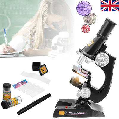 Children Microscope Set w/ Light Science Lab Magnifier Educational Kids Toy Gift