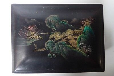 Antique Japanese Lacquer Box Case Hand Painted Landscape