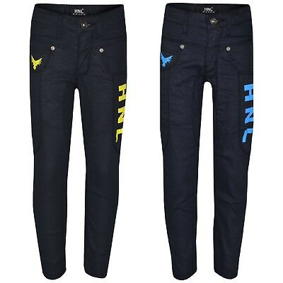 Kids Boys Stretchy Designer HNL Denim Jeans Skinny Jean Pants Trousers 5-13 Year