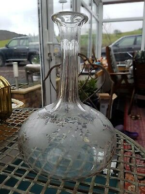 Glass Wine Decanter with Etched Grapes and Vines Design - No Stopper