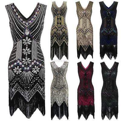 1920s Style Beaded Sequined Deco Fringe Flapper Gatsby Dress GFEQ