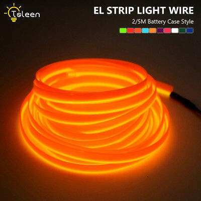 2m 5m Neon LED Light Flat EL Wire Strip Rope Car Dance Party Decor+Controller 7