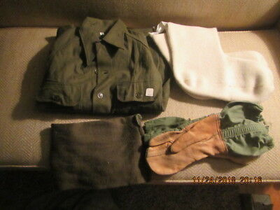 Vintage Army Wool Field Shirt Size Medium boot liner scarf and mittens