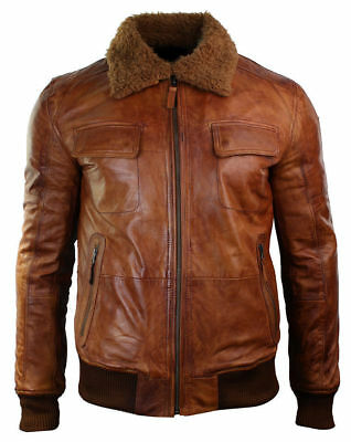 Mens B3 Bomber Rust Tan Brown Fur Collar Aviator Lambskin Winter Leather jacket