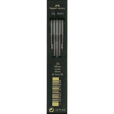 Faber-Castell - TK Clutch Pencil Leads - tube of 10 leads , 2mm, 2B