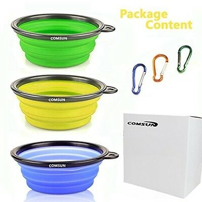 3 pack Collapsible Dog Bowl, Food Grade Silicone BPA Free, Foldable Expandable