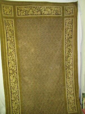 Antique printed Velvet Portieres Curtain panel brown tans Floral