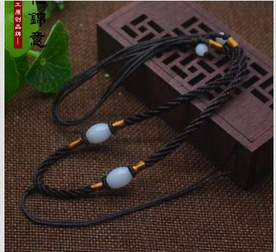 1Pcs Natural JADE beads Brown Circle string cord rope for pendant Necklace C03