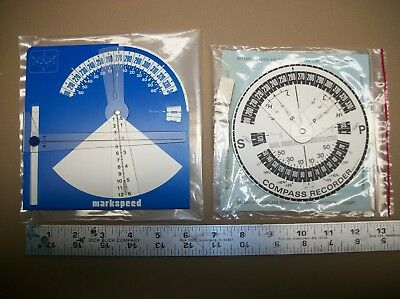 2 Vintage Sailboat Nautical Gauges Markspeed and Compass Recorder