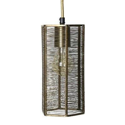 Vintage Style Industrial Gold Metal Pendant Light   Wire Hanging Shade Brass