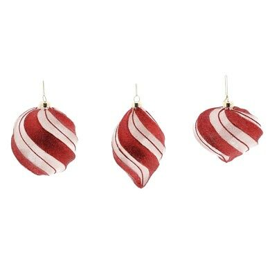 Vintage Style Candy Cane Stripe Glass Ornament Set 3 | Red White Retro Antique