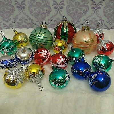 Vintage Glass Christmas Glitter Ornaments Lot Of 19 Assorted 16 Mini 3 Large