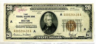 1929 $20 Federal Reserve Bank Of Boston Massachusetts Currency #6438