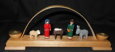 German Erzgebirge Wood Carved Arch Nativity Candleholder