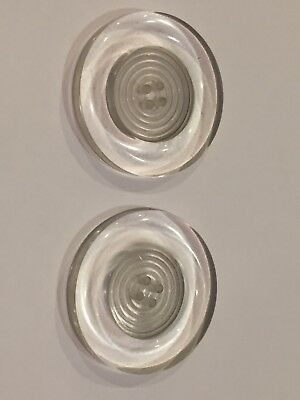 Lot of 2 vintage clear lucite buttons 1&3/4""