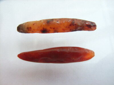 2 Ancient Neolithic Carnelian Ear Plugs, Stone Age, VERY RARE !!