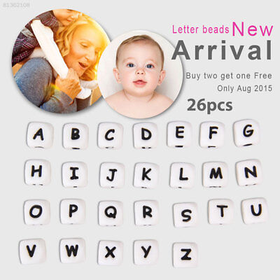 F441 12mm Teething Necklace Alphabet Beads Cube Teether Dice Food Grade