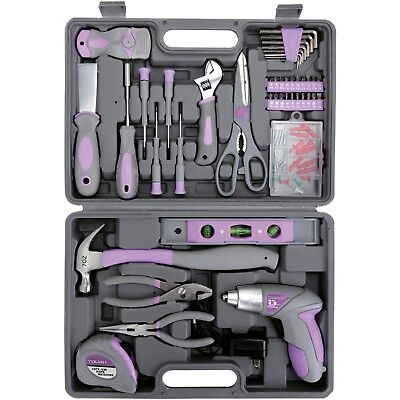 purple 44-piece home repair ladies tool kit set cordless screwdriver ...