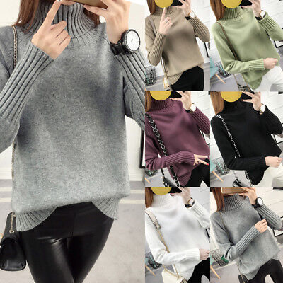 Women's Winter Knitted Sweater Thick Warm Turtleneck Chunky Lady Pullover Jumper