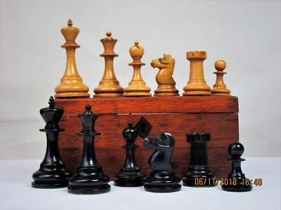 ANTIQUE CHESS SET ENGLISH EBONY NON JAQUES  KING 86  mm PLUS  BOX  NO  BOARD