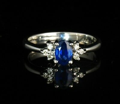 LEVIAN SIGNED NATURAL 3/4ctw BLUEBERRY BLUE SAPPHIRE DIAMOND SOLID 14K GOLD RING